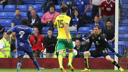 Clayton Donaldson sealed Birmingham City's 3-0 Championship win over Norwich City. Picture by Paul C