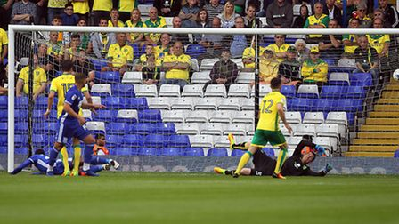 David Davis opens the scoring for Birmingham City after getting the run on Norwich City left-back Ro