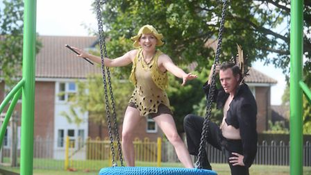Wymondham victory picnic. Pictured from the Strange Fascination Theatre Company are Hayley Ebenett a