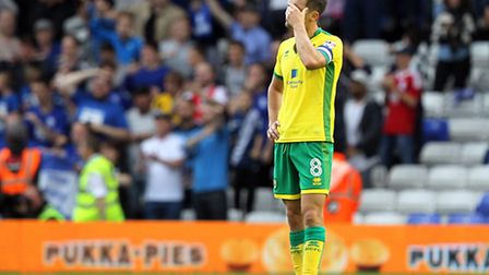 Jonny Howson looks a picture of dejection after Norwich City concede a third goal to Birmingham at S