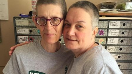 Caron Pointin and Hilary Weir had their heads shaved for Macmillan Cancer Support. Picture: SUBMITTE