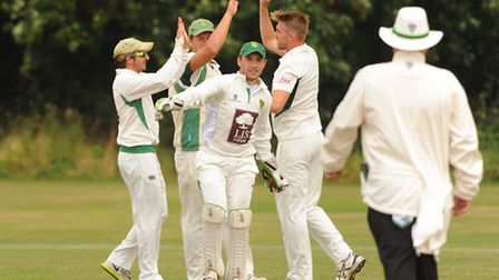 Action from Swardeston against Great Witchingham cricket. Great Witchingham celebrate catching out S