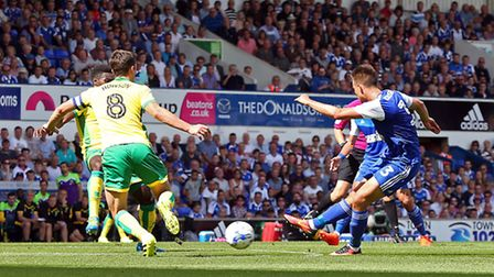 Jonas Knudsen rifled Ipswich level in first half stoppage time against Norwich City at Portman Road