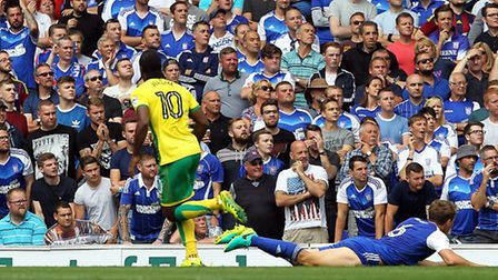 Cameron Jerome fired Norwich City ahead in Sunday's Championship 1-1 draw at Ipswich. Picture by Pau
