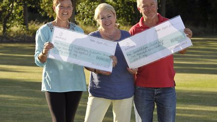 Breckland Counil have awarded grants to Garboldisham Cricket Club and recreation ground. Left to rig