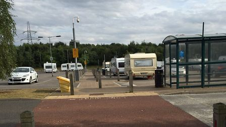 Caravans at the Thickthorn Park and Ride. Picture: Joanne Barker @JoBoBo777