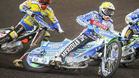 Action from the King's Lynn Stars v Poole Pirates - Rory Schlein in heat 6. Picture: Matthew Usher.