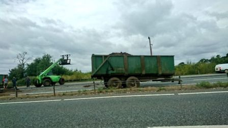 The A11 is blocked at Snetterton. Picture Twitter/Fran Rosas