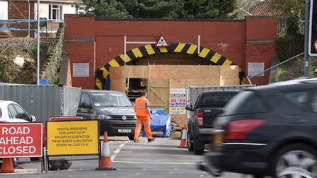 The Long John Hill railway bridge. Norwich that will remain closed until September. Photo : Steve Ad