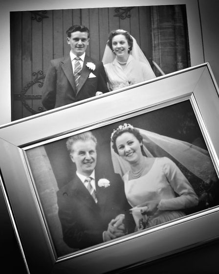 Alan pictured on his wedding day with his wife June, top picture, and Malcolm with his wife Phyllis.