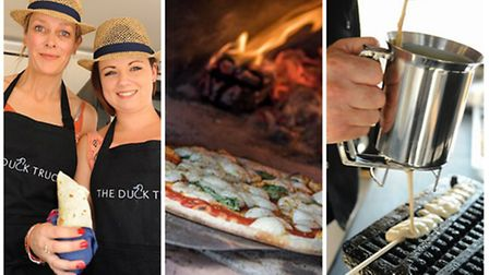 Street food from the region: The Duck Truck, The Proper Pizza Co and The Waffle Works. (L-R)