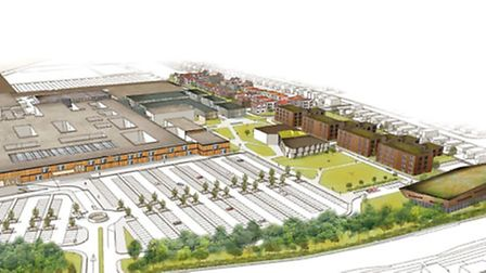 Artist impression of how the James Paget Hospital would look after its expansion is complete. The ne