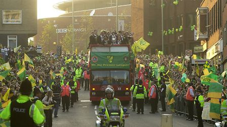 The players with the trophy on their tour round Norwich city.photo - Denise Bradley copy - for -