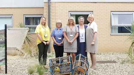 Pictured from left in the new garden are: Lucy Massen, Sharon Harvey, Lindsey Rasberry, Laurence Mor