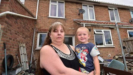Chontelle Barker at her home in Cadge Road where large cracks have appeared due to subsidence. Pictu