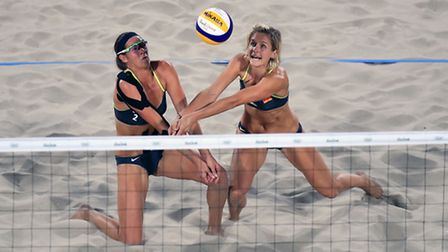 Germany's Kira Walkenhorst and Laura Ludwig in action during the Women's beach volleyball at the Bea