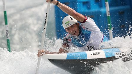 Great Britain's David Florence competes in the Canoe Single heats at the Whitewater Stadium on the s