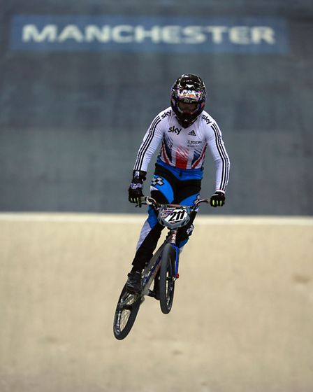 Great Britain BMX rider Kyle Evans during the photocall at the National Cycle Centre in Manchester.