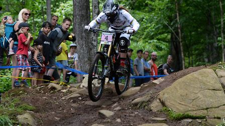 Manon Carpenter of Great Britain races her way to silver during the women's downhill at the UCI moun