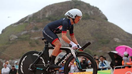 Great Britains Emma Pooley competes during the women's road cyling individual time trials on the fif