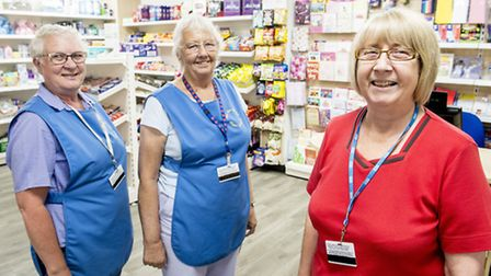 League of Friends shop at Queen Elizabeth Hospital appealed for new volunteers - From left - Linda C