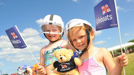 Happisburgh Lifeboat Day included action from the boats as well as live music. Tia(6) and India(4) W