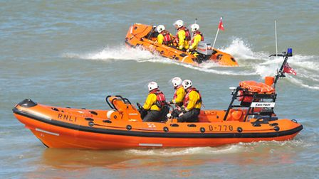 Happisburgh Lifeboat Day included action from the boats as well as live music. PHOTO BY SIMON FINLAY