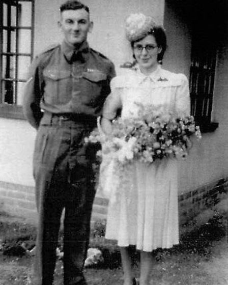 Jim and Nancy Tate on their wedding day in 1946.