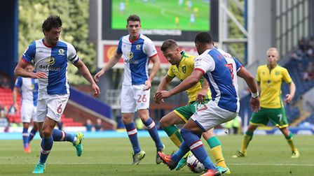 Wes Hoolahan takes on the Blackburn defence. Picture by Paul Chesterton/Focus Images