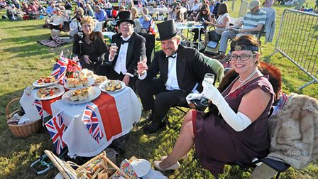 Last Night of the Blickling Proms 2014 at Blickling Hall. Left to right, Diane and Michael Rivett an