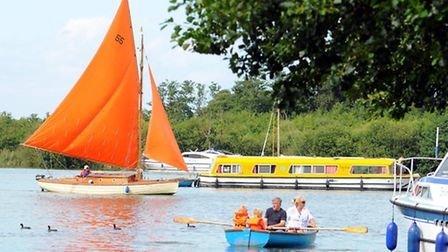 A busy weekend at Ranworth staithe on the Norfolk Broads.