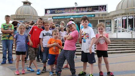 Children celebrate Cromer carnival with a streetdance workshop. Picture: ALLY McGILVRAY