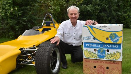 Tony Shute with his Lotus 69 formula ford car. He rebuilt the car after transporting it back from Ge