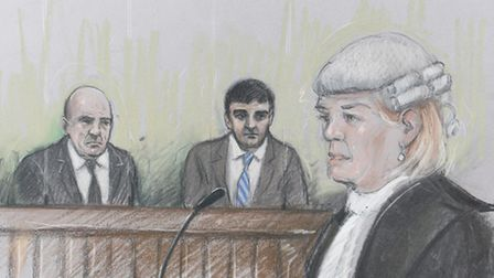 """Court artist sketch by Elizabeth Cook of Alan Smith (left) and Mazher Mahmood, known as the """"Fake Sh"""