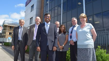 Kingsley Healthcare chief executive Daya Thayan pictured with Kingsley Healthcare staff. Picture by: