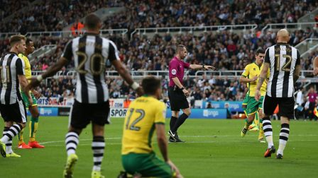Robbie Brady was fouled for a first half penalty in Norwich City's 4-3 Championship defeat at Newcas