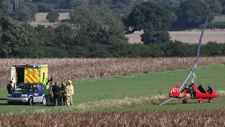 Emergency services at the scene of the crash at Northrepps Aerodrome. Picture: ALLY McGILVRAY