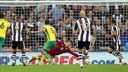 Dwight Gayle of Newcastle United scores his sides 4th goal during the Sky Bet Championship match at