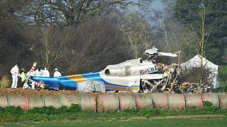 The scene of the helicopter crash at Gillingham.