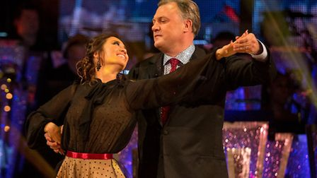 Ed Balls with dance partner Katya Jones during the live show of Strictly Come Dancing where he came