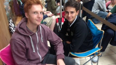 George and Charlie were the first people in the queue. Picture Archant