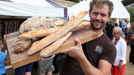 The North Norfolk Food and Drink Festival at Holkham Hall. Joe Trewellard of Bread Source.Pic by Kei