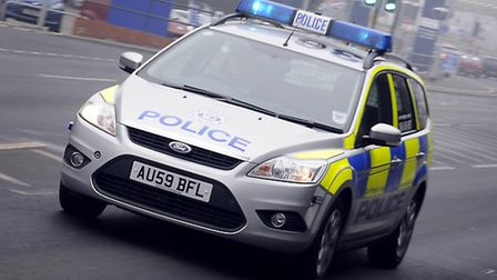A police car heading out to an emergency. Picture: Matthew Usher