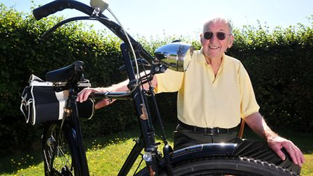 Former Police officer Jack Guymer (90) with his renovated bike that he used during his days on the b
