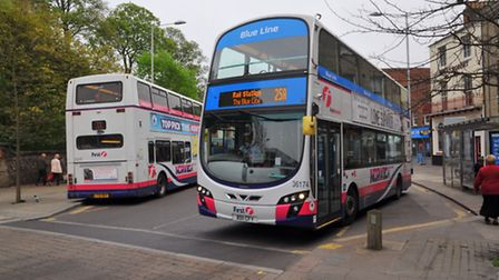 First bus in Norwich city centre. Photo: Steve Adams