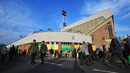 Norwich City fans outside the ground before the Barclays Premier League match at Carrow Road, Norwic