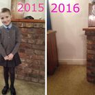 The haunting image which has gone viral of Emily Rush in January 2015 and then the same space withou