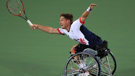 Great Britain's Alfie Hewett competes in the Men's Doubles Gold Medal Match during the eighth day of