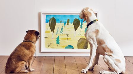 A Border Terrier and English Pointer admire 'Drumstick Park' by Robert Nicol – a park scene that env