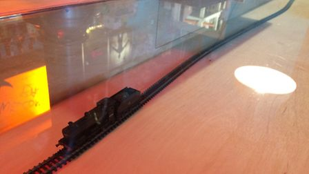 The model train in the refurbished bar at the Playhouse in Norwich